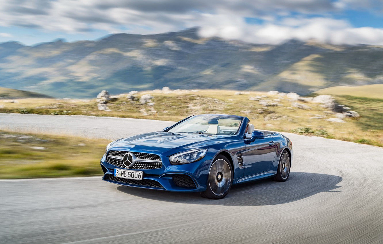Photo wallpaper blue, Mercedes-Benz, convertible, Mercedes, R231, SL-Class