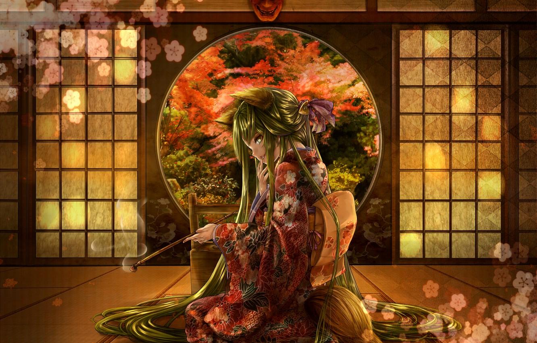 Photo wallpaper flower, girl, smoke, tube, mask, sitting, long hair, Japanese clothing, green eyes, green hair, cherry …