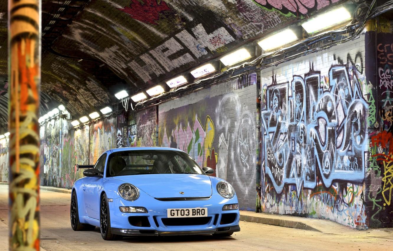 Photo wallpaper 911, gt3, graffiti, Porsсhe