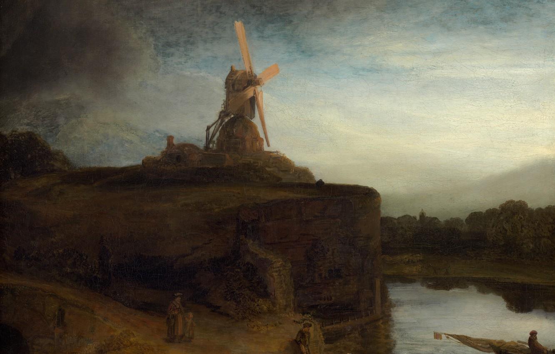 Photo wallpaper landscape, picture, Mill, Rembrandt van Rijn