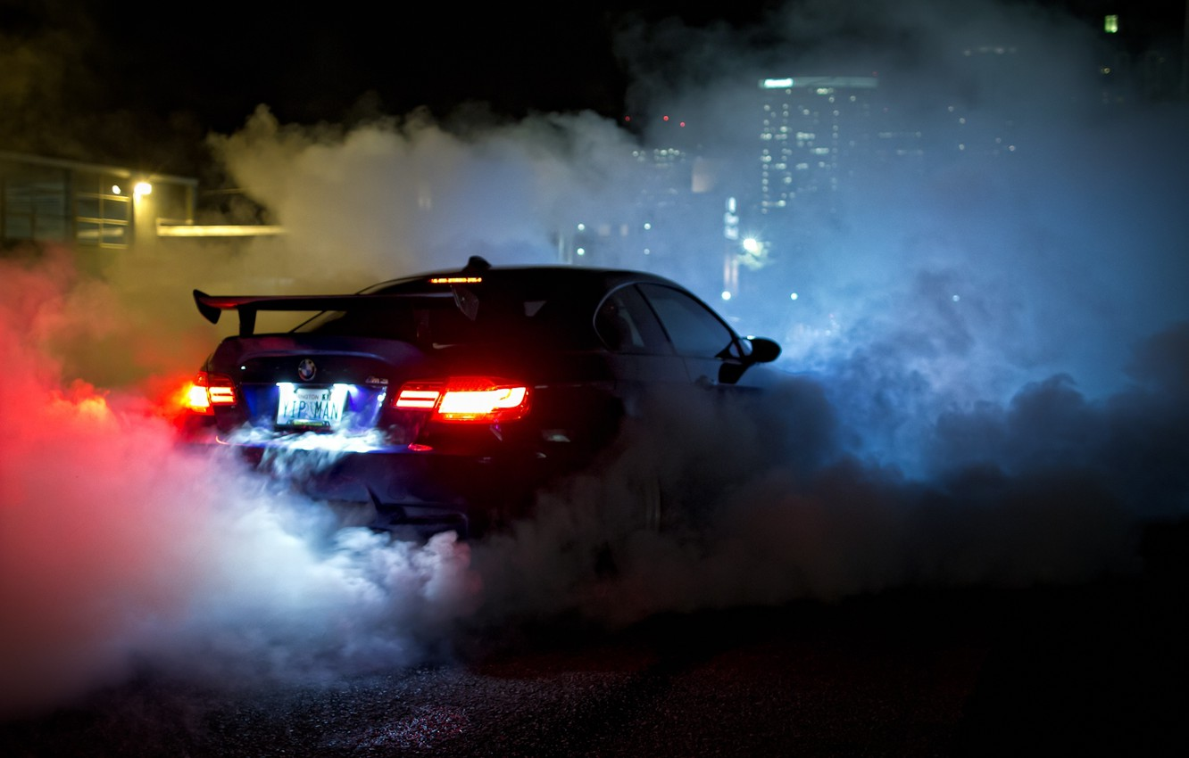 Photo wallpaper night, blue, smoke, view, bmw, BMW, back, smoke, blue, night, headlights, e92, wing
