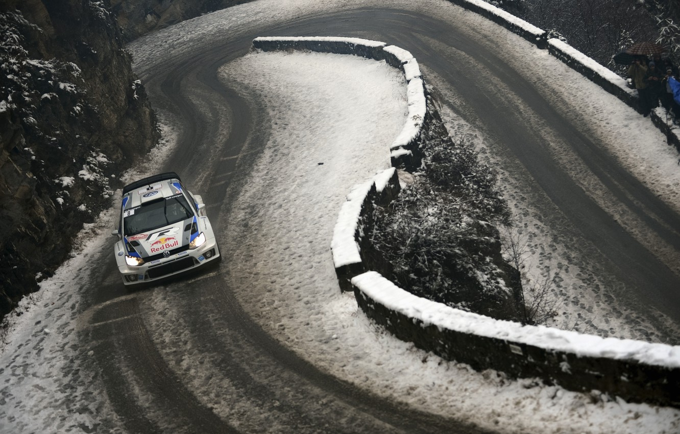 Photo wallpaper Winter, Snow, Volkswagen, Red Bull, WRC, Rally, Polo, The rise