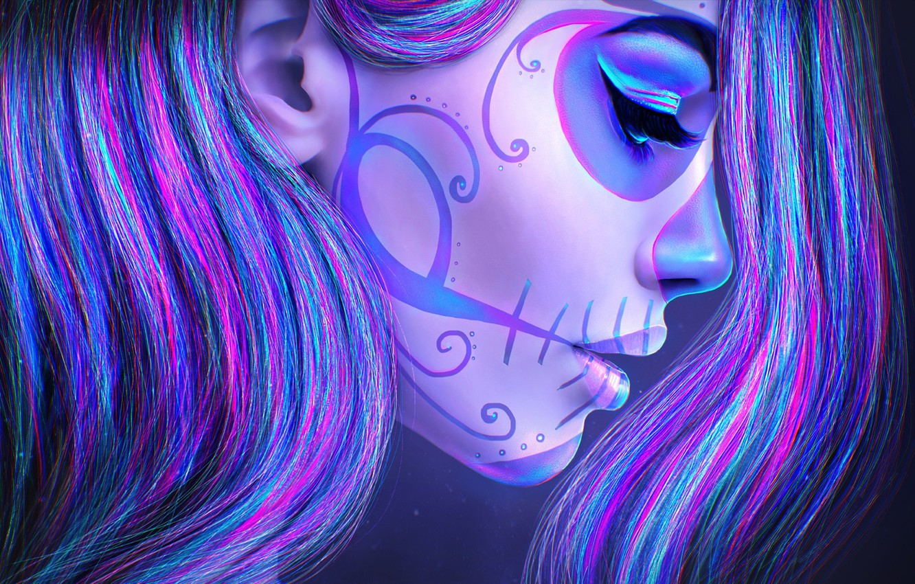 Wallpaper Girl Face Death Hair Skull Beauty Makeup Tattoo Art Day Of The Dead Sugar Skull Images For Desktop Section Zhivopis Download