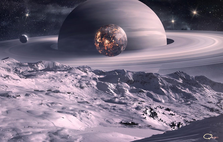 Photo wallpaper space, surface, snow, trees, landscape, the moon, planet, satellite, ring, art, QAuZ