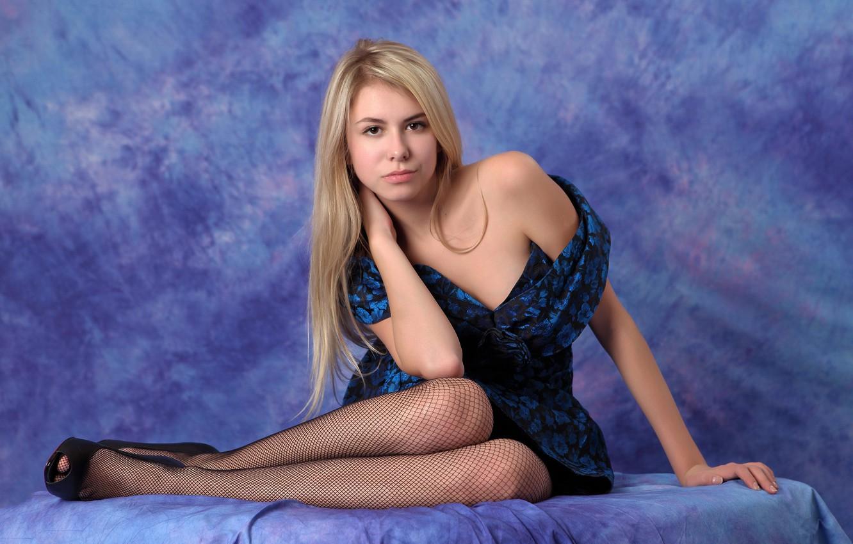 Photo wallpaper look, girl, pose, background, stockings, dress, blonde, shoes, legs, Masha