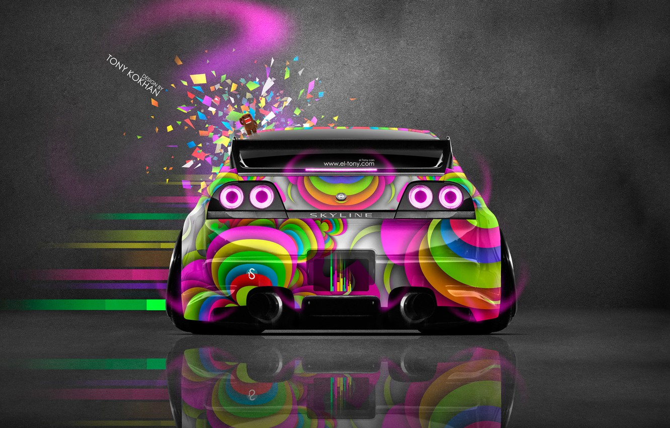 Photo wallpaper Pink, Neon, Toy, Style, Nissan, GTR, Pink, Nissan, Photoshop, Photoshop, Style, Skyline, Neon, R34, GT-R, …