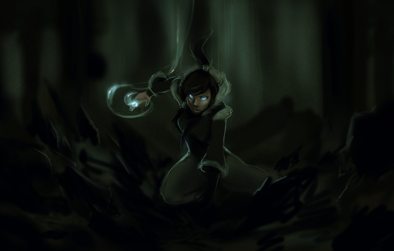 Photo wallpaper forest, the wreckage, girl, earth, magic, art, avatar, times, the legend of korra