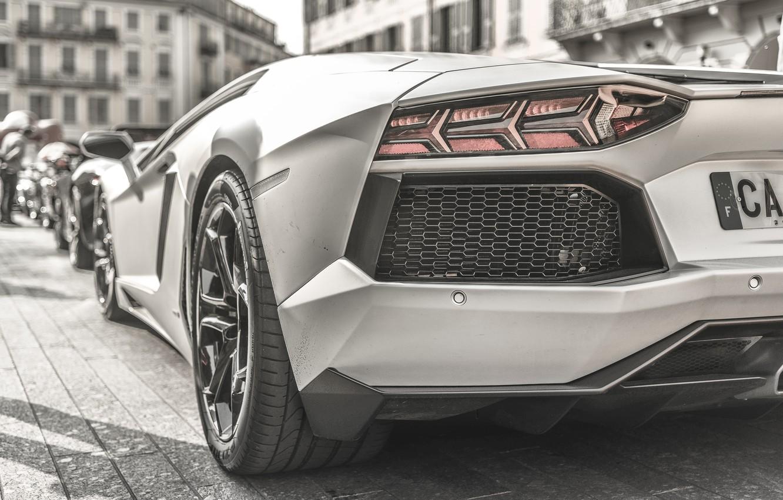 Photo wallpaper ass, black and white, Lamborghini, LP700-4, Aventador