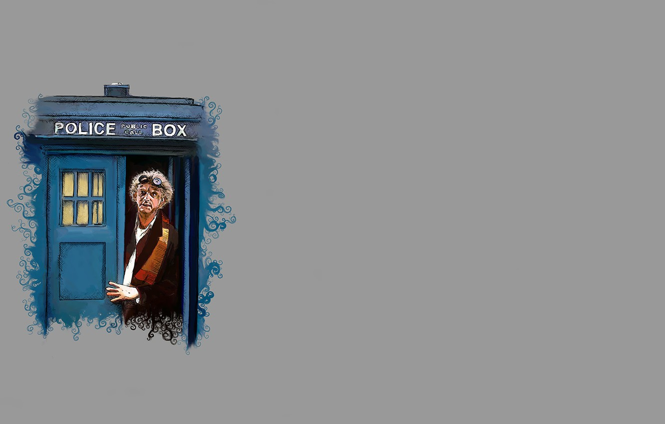 Photo wallpaper scarf, glasses, parody, booth, grey background, Doctor Who, police, Doctor Who, The TARDIS, TARDIS, Back …
