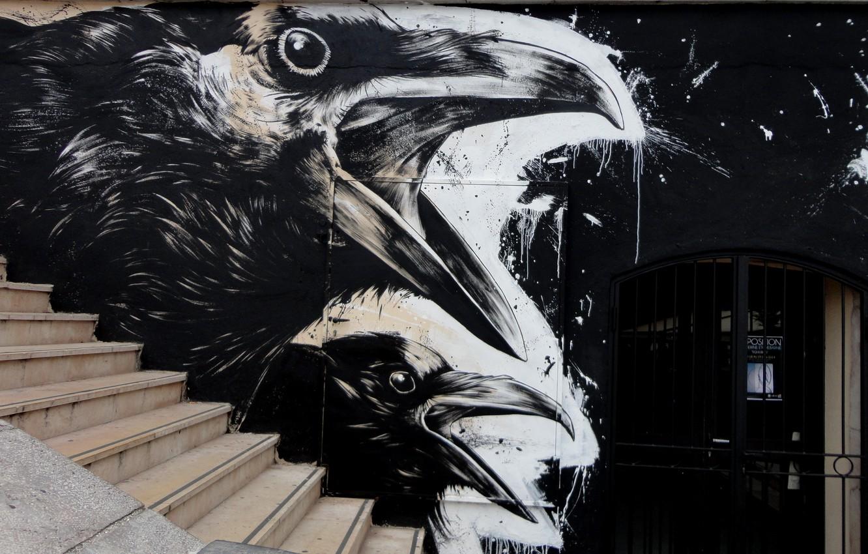 Photo wallpaper Raven, Street, Graffiti, Black and white