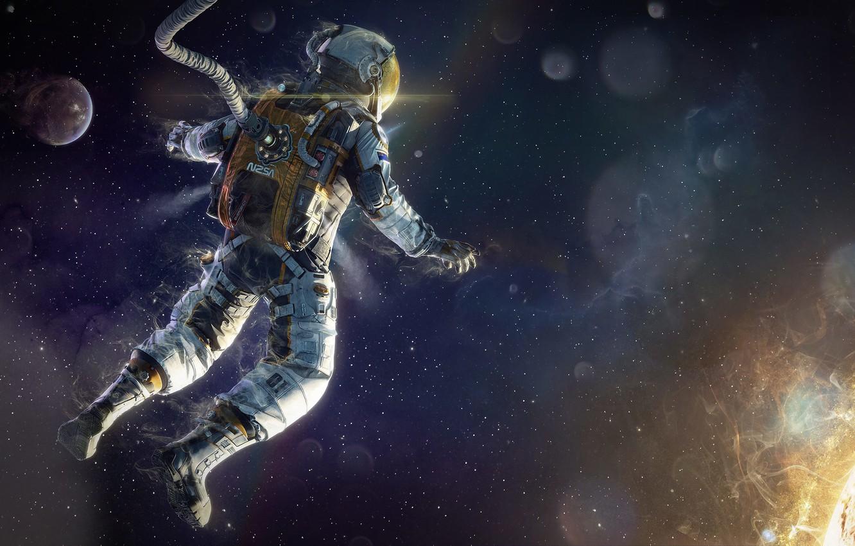 Photo wallpaper energy, space, star, the suit, art, astronaut