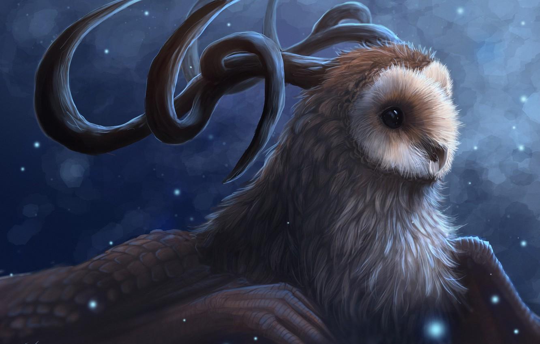 Photo wallpaper snow, owl, bird, wings, being, art, horns