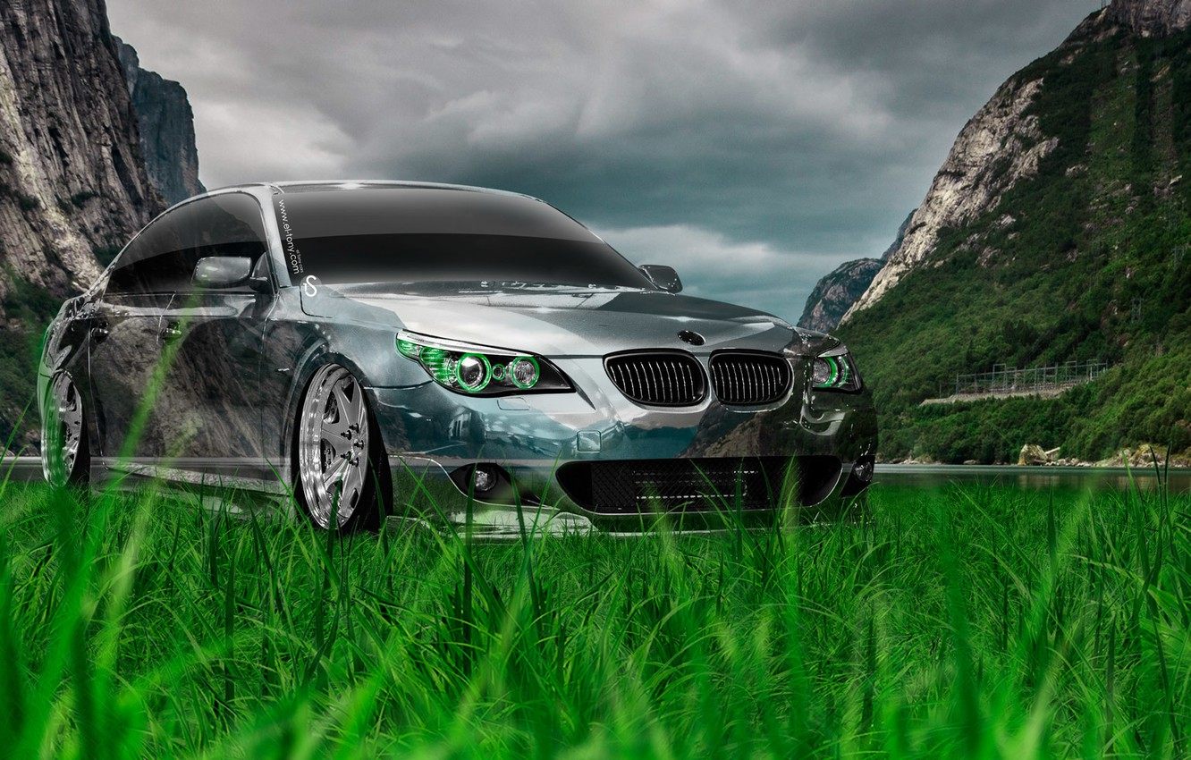 Wallpaper Nature Auto Mountains Bmw Machine Tuning Bmw Wallpaper Nature Creative Grass Photoshop Green Style Beha Beha Images For Desktop Section Bmw Download