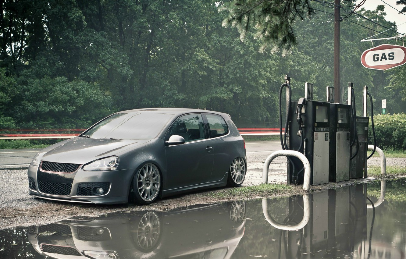 Photo wallpaper road, dressing, Volkswagen, puddle, Golf, gas