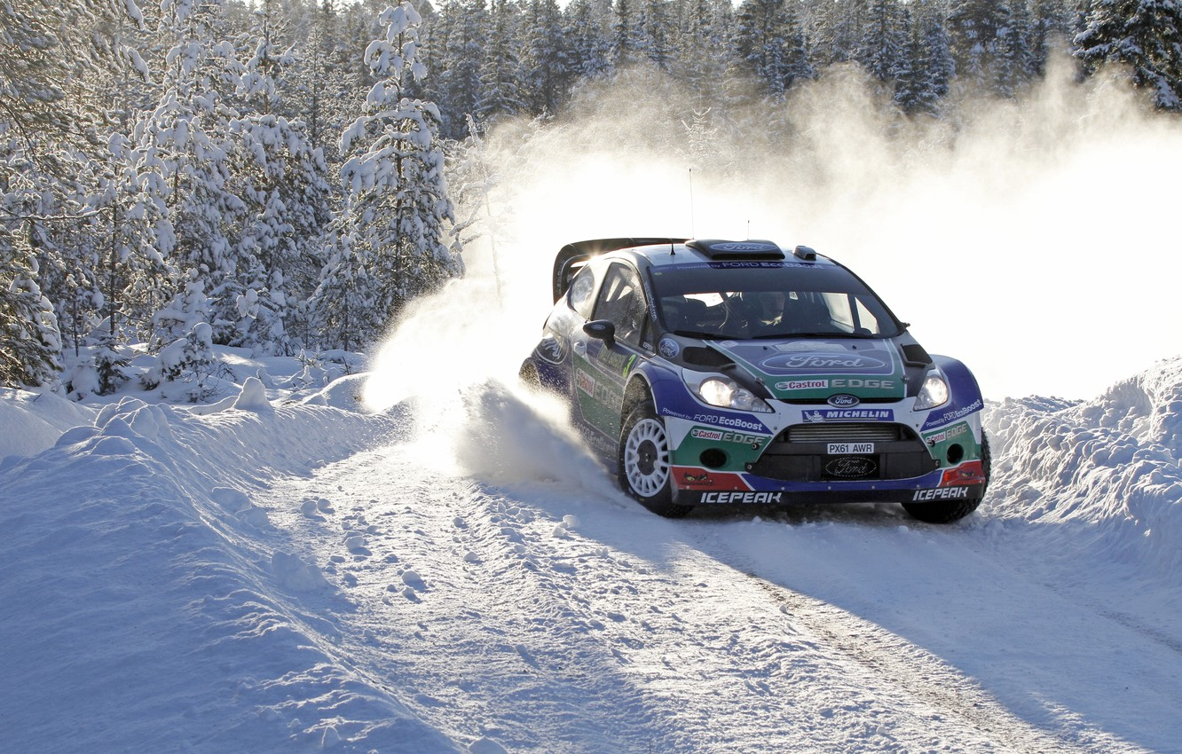Photo wallpaper Ford, Winter, Snow, Forest, Turn, Skid, Car, Focus, WRC, Rally, Sport, J. M. Latvala