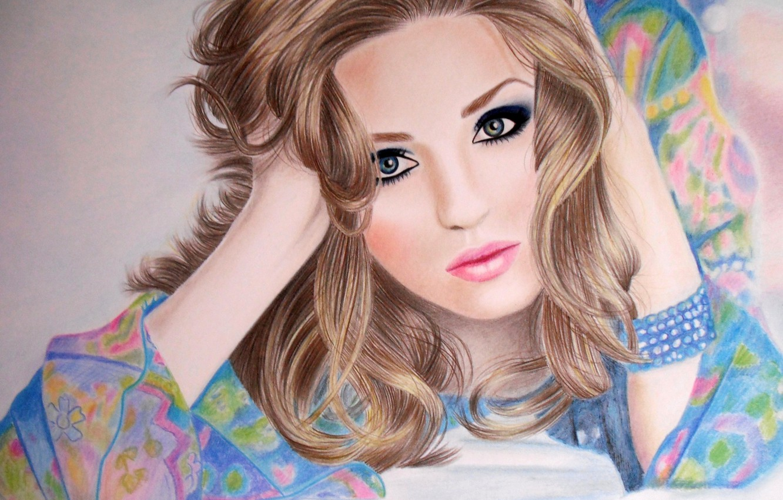 Photo wallpaper eyes, girl, face, hair, hands, makeup, blonde, lips, lies, bracelet, painting, curls