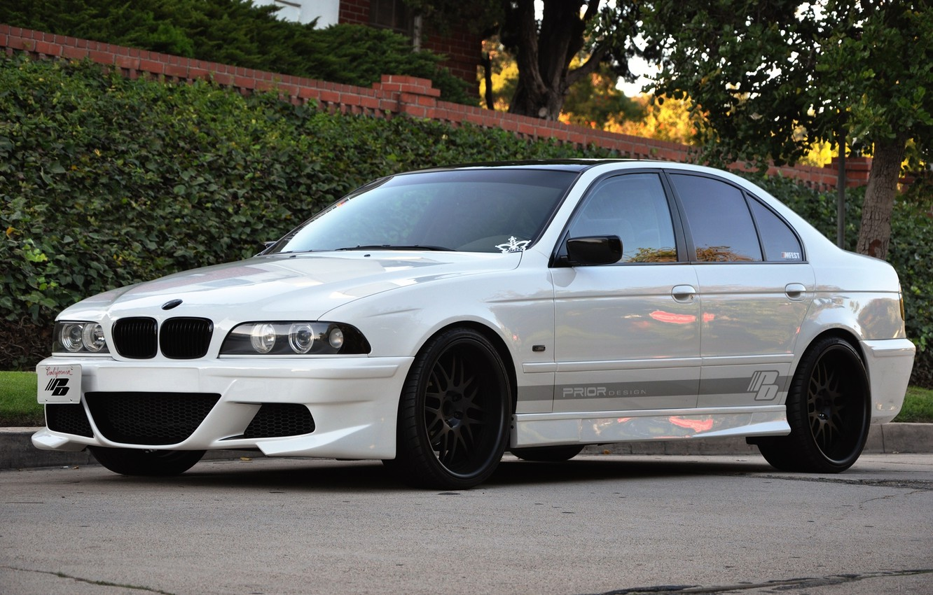 Photo wallpaper Auto, The fence, Trees, BMW, Tuning, Machine, The bushes