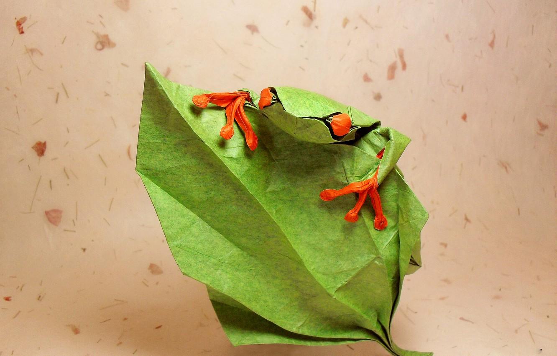 Photo wallpaper eyes, leaves, green, green, frog, origami, frog, eyes, leaf, origami, lifting, climb