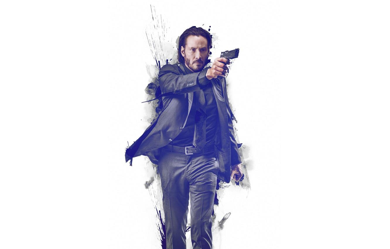 Photo wallpaper gun, paint, costume, white background, Keanu Reeves, Keanu Reeves, John Wick, John Wick