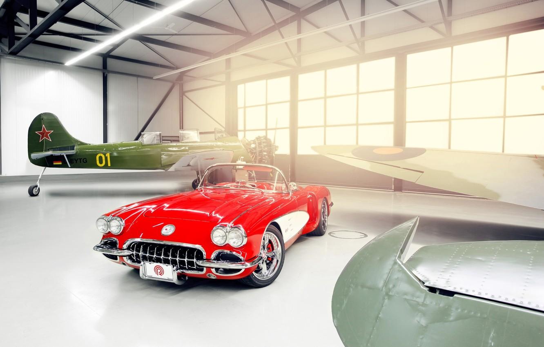 Photo wallpaper light, red, tuning, Windows, Corvette, Chevrolet, hangar, Chevrolet, drives, classic, tuning, the front, aircraft, custom, …