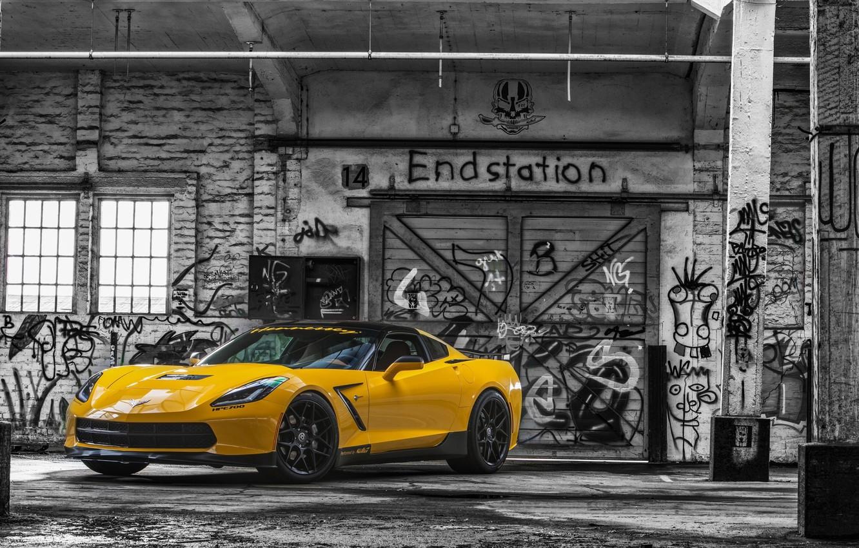 Photo wallpaper yellow, gate, Corvette, Chevrolet, grafiti, Chevrolet, Corvette, Stingray, HPE700, 2015, Stingray, Ruffer Performance