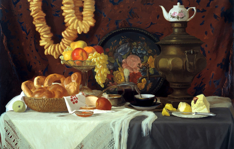 Photo wallpaper tea, apples, oil, picture, art, grapes, artist, vase, fruit, still life, painting, samovar, canvas, pear, …