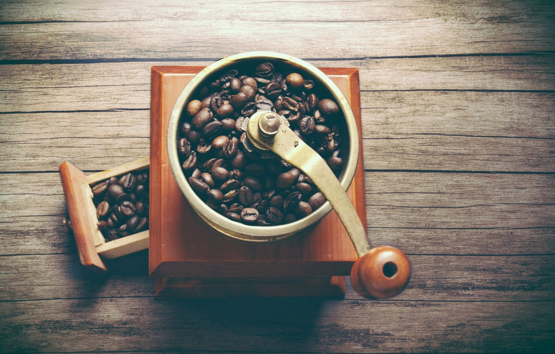 Photo wallpaper coffee, coffee beans, coffee grinder
