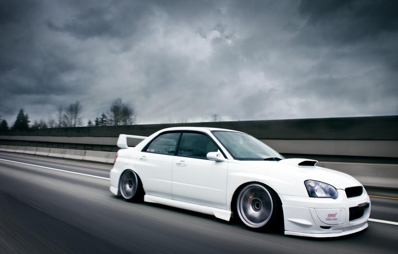 Photo wallpaper road, Subaru, Impreza, white, white, road, STI
