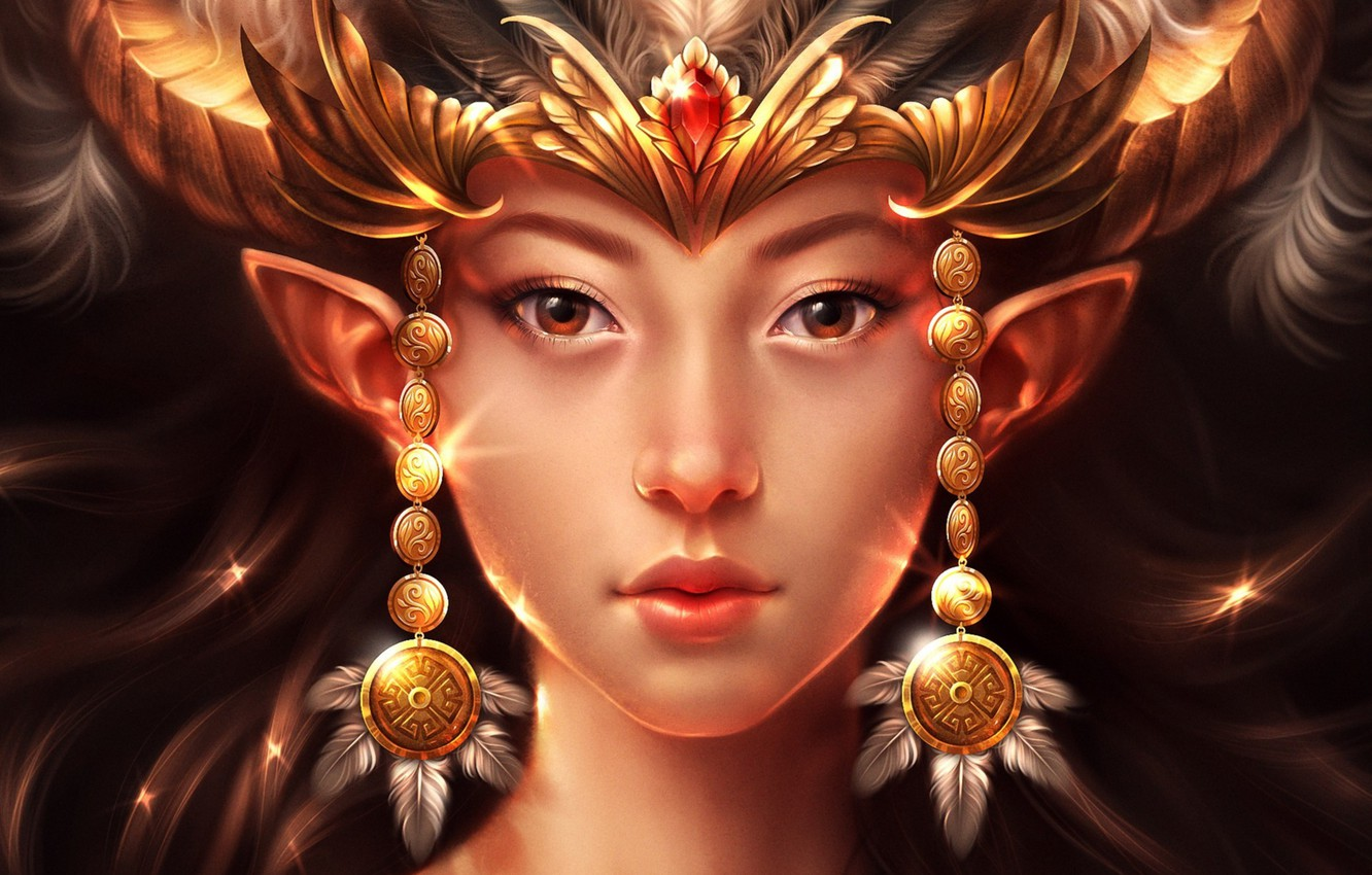Photo wallpaper girl, decoration, face, feathers, fantasy, art, horns, ears