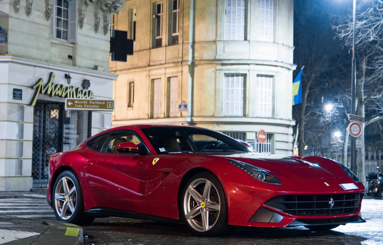 Photo wallpaper night, red, street, building, Ferrari, red, Ferrari, night, street, building, f12, berlinetta, Berlinetta