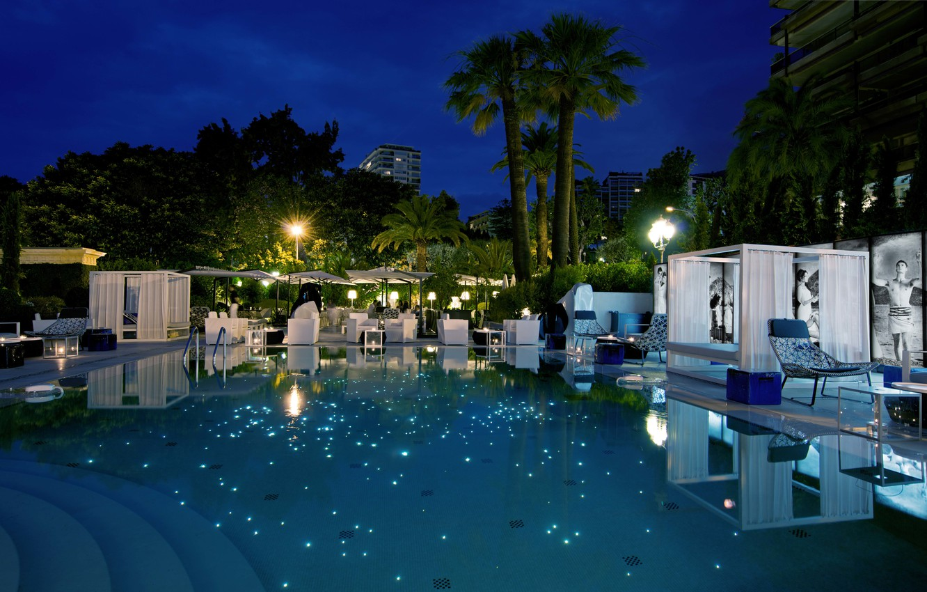 Photo wallpaper the city, the evening, pool, the hotel, Monte-Carlo, Hotel Metropole