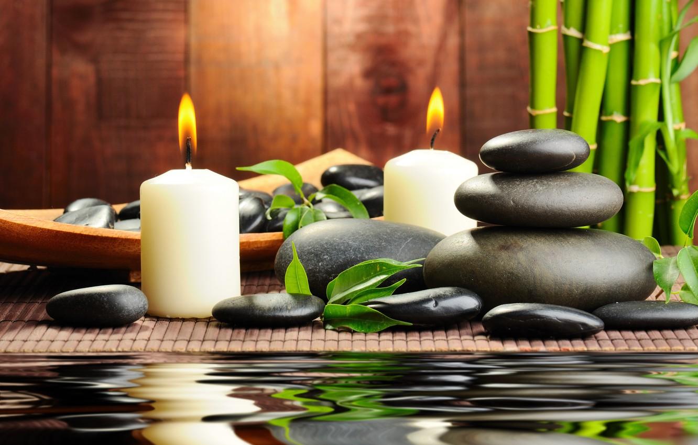 Wallpaper Water Stones Candles Bamboo Black Spa Spa Massage Images For Desktop Section Nastroeniya Download