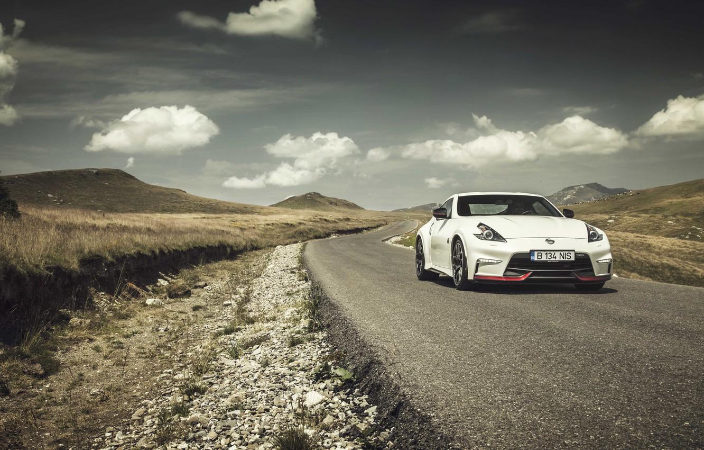 Photo wallpaper road, clouds, hills, Nissan, 370Z