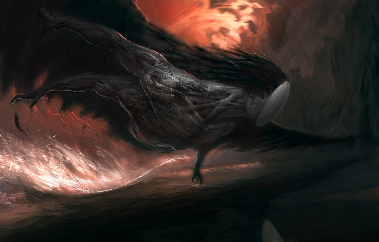 Photo wallpaper being, hands, art, Fantasy, muscle, flight. wings