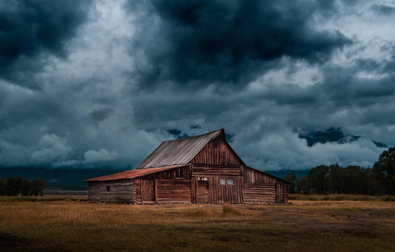 Photo wallpaper autumn, overcast, Russia, Heath, Hut