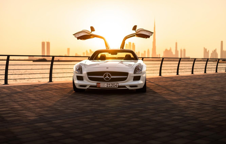 Photo wallpaper Mercedes-Benz, sports car, promenade, sports car, Mercedes-Benz SLS AMG