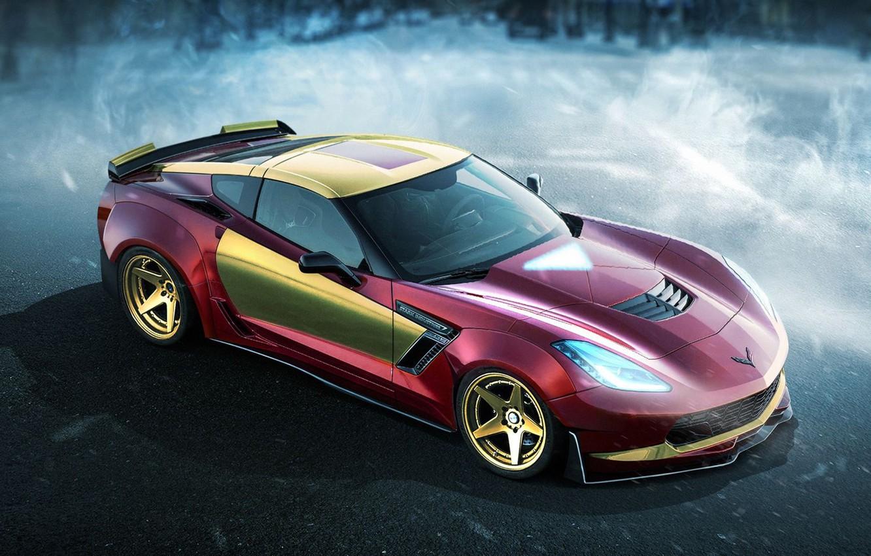 Photo wallpaper auto, Iron man, superhero, Iron Man, Marvel, Marvel, DC Superheroes, Chevrolet Corvette z06