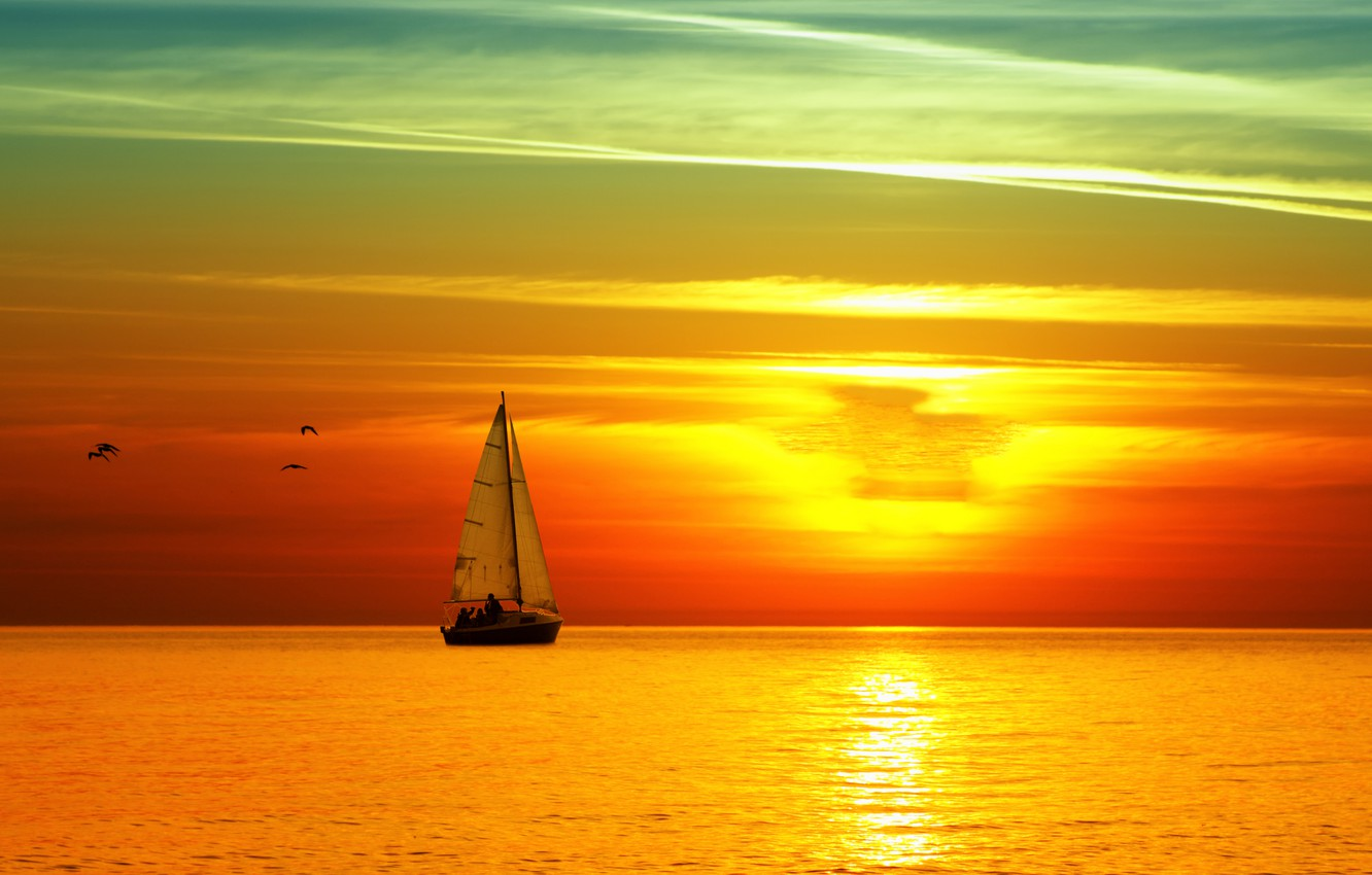 Photo wallpaper sea, sunset, yacht, sail, bright