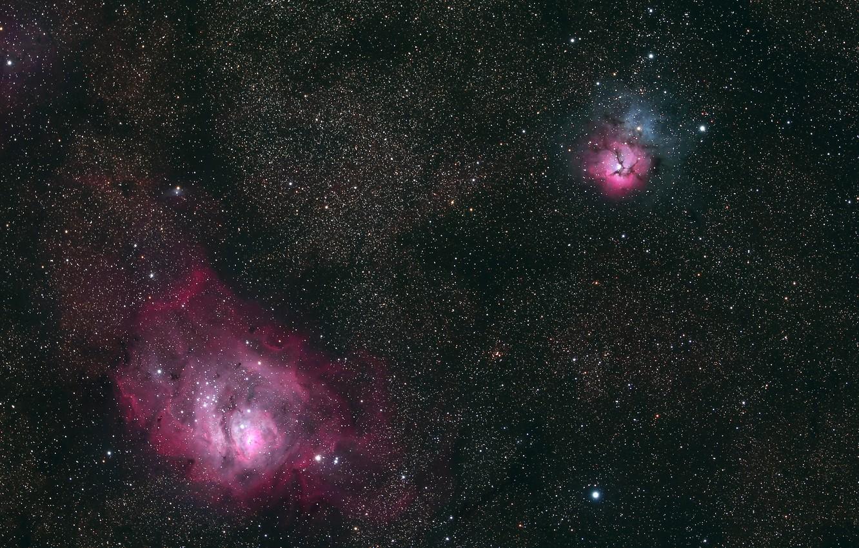 Photo wallpaper glow, stars, Laguna, Tripartite, two very famous nebulae in the constellation Sagittarius