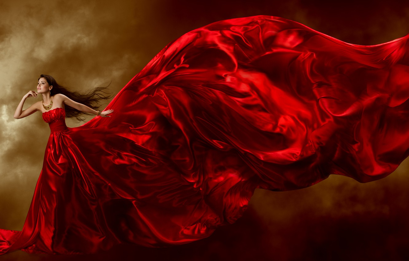 Photo wallpaper look, girl, decoration, background, hair, train, red dress, curls