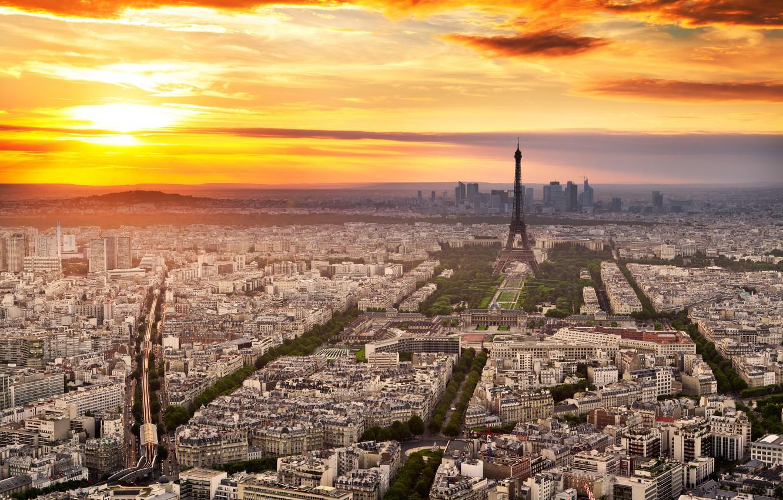Photo wallpaper the sky, clouds, sunset, the city, Eiffel tower, Paris, France, paris, france