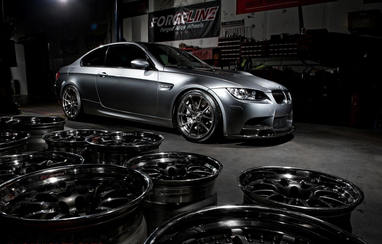 Photo wallpaper bmw, BMW, wheels, drives, side view, e92, matte grey, grey matte