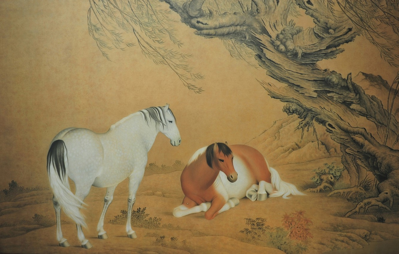 Wallpaper Nature Tree Picture Horse Pair Yellow Background Nature Wood Tree Horses Couple Chinese Painting Chinese Painting Yellow Background Images For Desktop Section Zhivopis Download