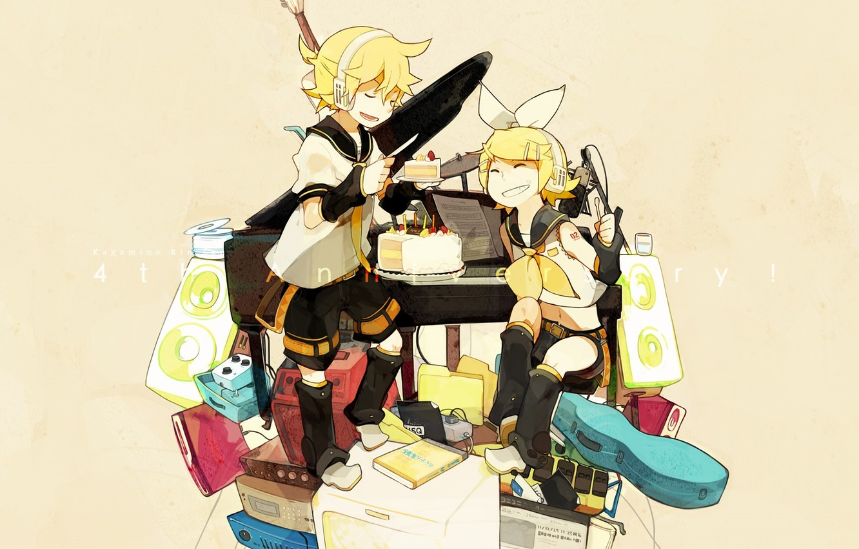 Photo wallpaper girl, headphones, knife, cake, guy, vocaloid, bow, Kagamine Rin, Vocaloid, mess, Kagamine Len