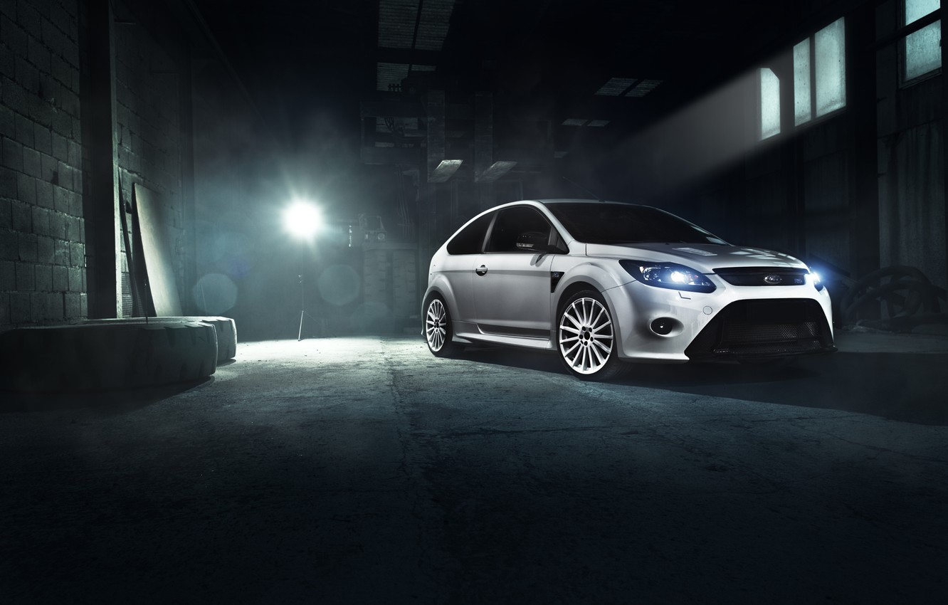 Photo wallpaper Ford, Car, Race, Focus, Front, White