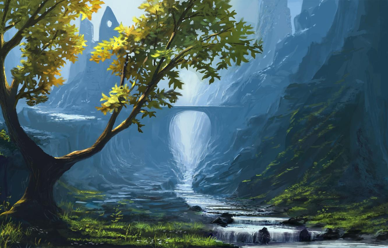 Photo wallpaper grass, mountains, bridge, nature, river, stones, tree, rocks, stream, valley, art, arch, ruins