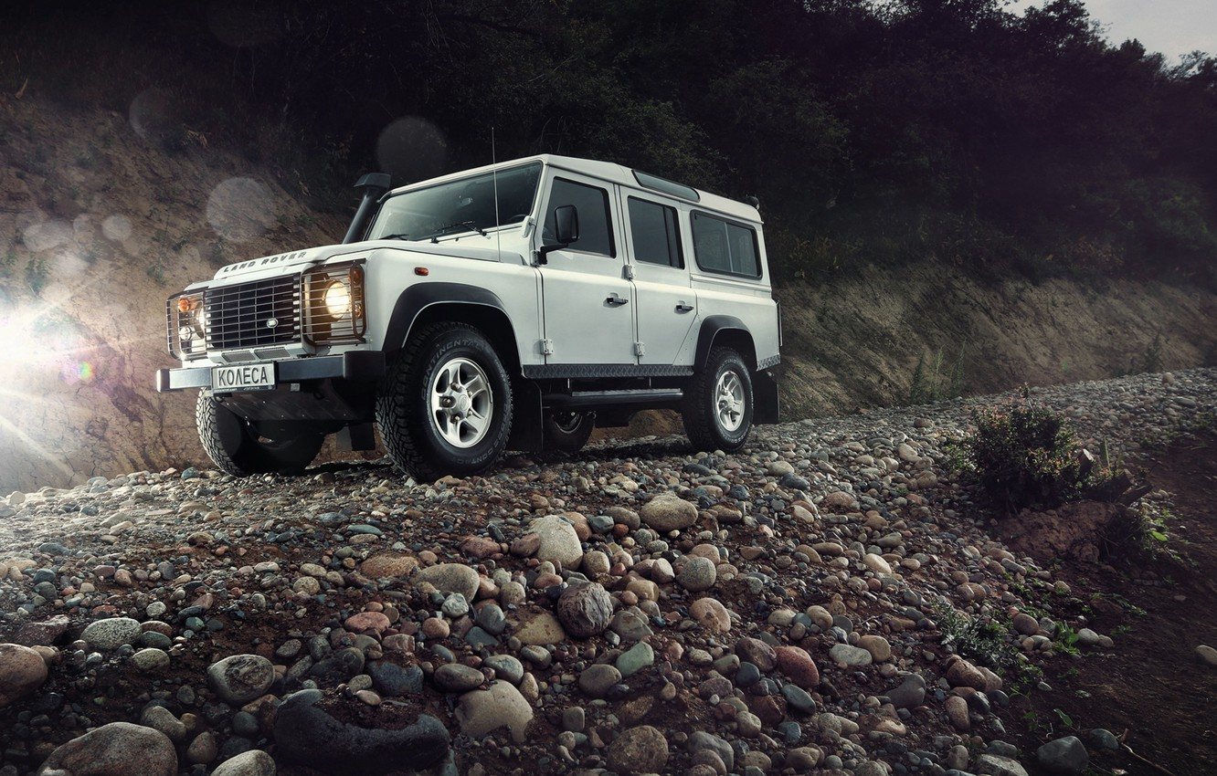 Photo wallpaper Light, Land Rover, Front, 4x4, Defender, SUV, Jeep, Wheels, Stones, Mountain Road