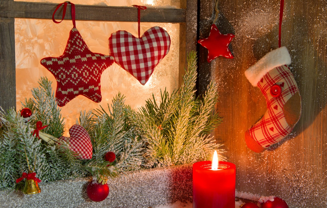 Photo wallpaper winter, balls, snow, branches, heart, toys, star, candle, spruce, New Year, window, Christmas, the scenery, …
