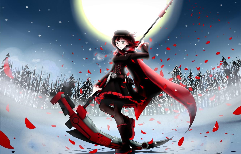 Photo wallpaper winter, girl, snow, trees, weapons, the moon, tree, anime, petals, art, braid, cloak, ssgt-lulz, ruby, …