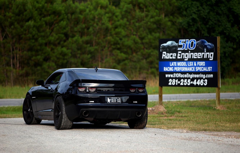 Photo wallpaper black, tuning, Chevrolet, black, chevrolet, back, camaro ss, Camaro, Billboard